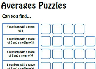 averages worksheet