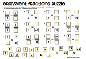 Printables Fraction Puzzle Worksheets fractions equivalent puzzle free resource