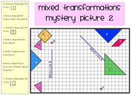 Worksheet Combined Transformations Worksheet whats new mixed transformations mystery picture