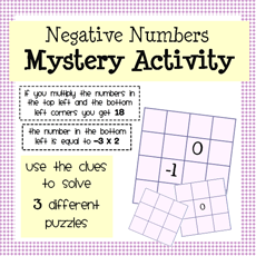 Multiplying negative numbers mystery grid puzzles