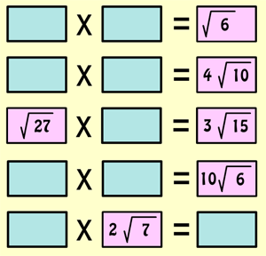 Multiplying Surds Interactive