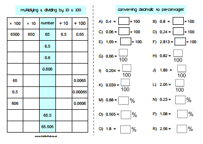 math worksheet : percentages : Converting Fractions To Decimals And Percents Worksheets