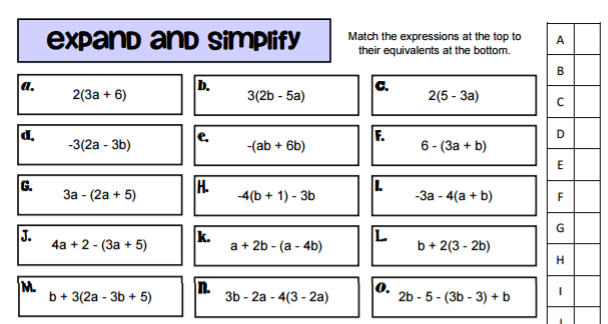 Algebraic Expressions – Simplify Each Expression Worksheet