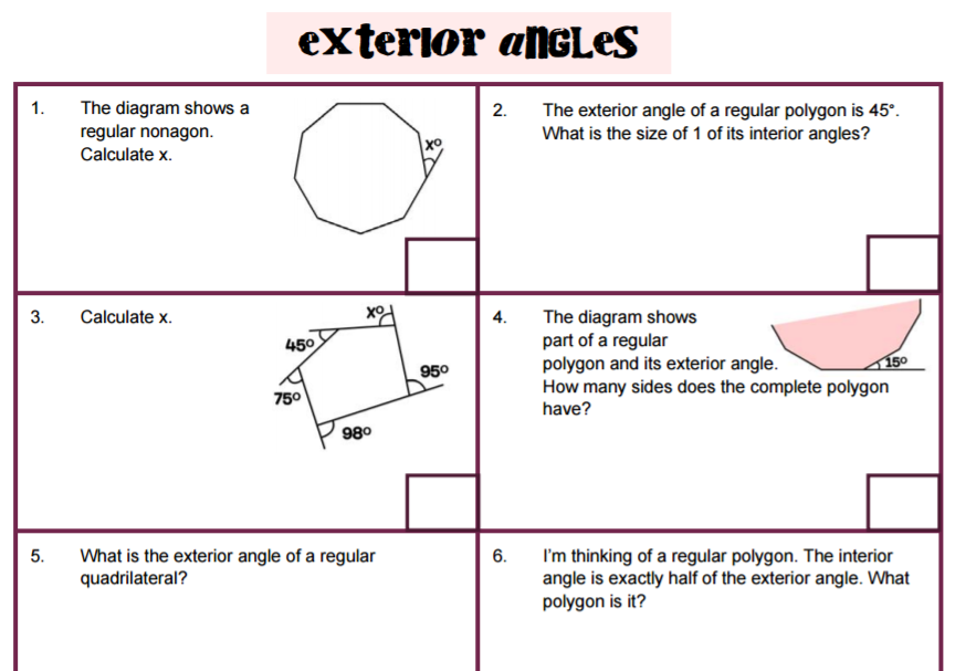 Angles – Interior and Exterior Angles Worksheet