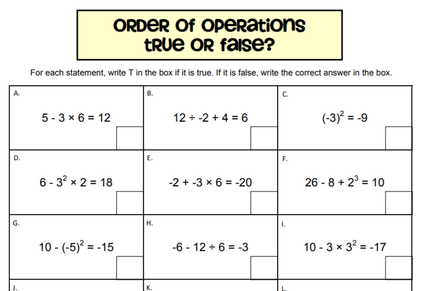 order of operations true or false