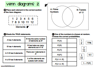Probability worksheets venn diagrams 1 ccuart Image collections